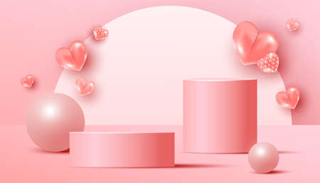 Minimal abstract mock up scene with podium or platform, air flying geometric bubble and love shapes on a pink background.