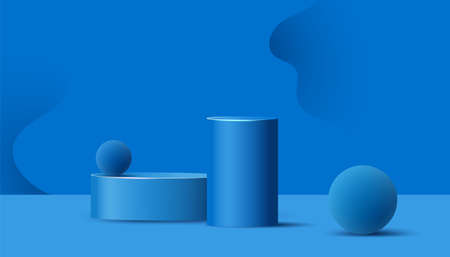 Empty podiums, pedestals or platforms with paper cut wavy shapes and air flying geometric bubble on blue background.