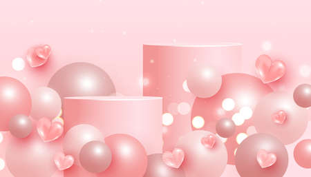 Minimal abstract mock up scene with podium or platform, flying bubble geometric shapes and love elements on a pink background. 向量圖像