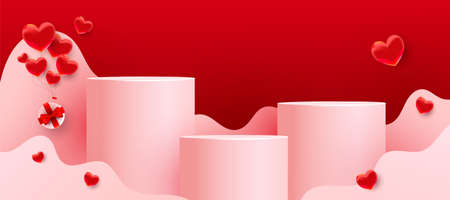 Empty podiums, pedestals or platforms with paper cut wavy shapes, red love balloons and gifts on red background.