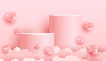 Minimal scene with pink podium and abstract air background. Trendy pastel pink banner with 3d love shape balloons and paper cut clouds. Valentines Day greeting card. 向量圖像