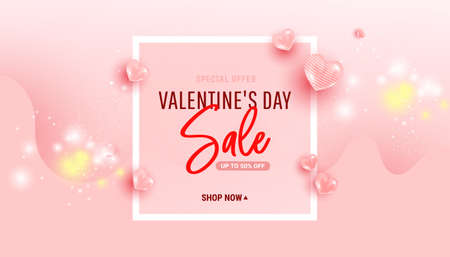 Happy valentine's day sale background with air heart shaped balloons and wave shape. Minimal frame. Vector illustration