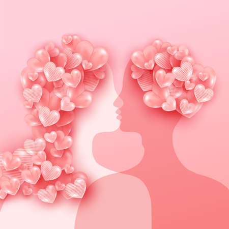 Silhouette of young man and woman with love balloons shaped looking at each other. Happy charming couple in love. Happy saint valentine day background 向量圖像
