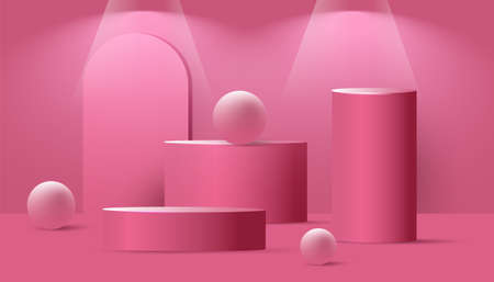 Abstract mock up scene with podium or platform, geometric bubble shapes and spotlight from above on a pink background. Minimal banner with geometrical forms for product presentation. Vector illustration