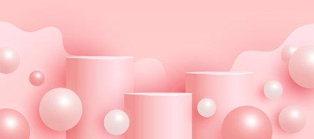 Trendy empty mock up scene with podium or platform, flying bubble geometric shapes on pink background. Minimal scene with geometrical forms for product presentation. Vector illustration