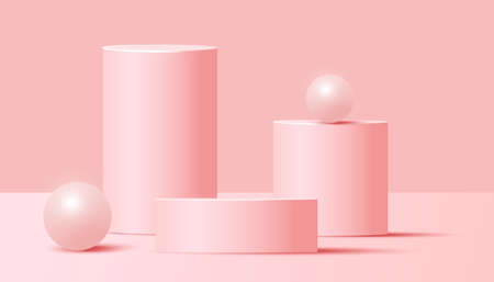 Minimal abstract mock up scene with podium or platform, air flying geometric bubble shapes on pink background. Minimal scene with geometrical forms for product presentation. Vector illustration 向量圖像