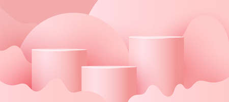 Empty podium, pedestal or platform with paper cut wave shapes on pink background. Minimal scene with geometrical forms for product presentation. Vector illustration 向量圖像