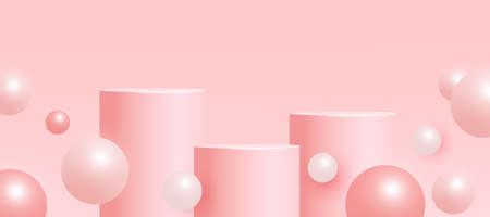 Trendy empty mock up scene with podium or platform, flying bubble shapes on pink background. Minimal scene with geometrical forms for product presentation. Vector illustration