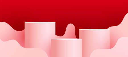 Empty podiums, pedestals or platforms with paper cut wave shapes on red background. Minimal scene with geometrical forms for product presentation. Vector illustration 向量圖像