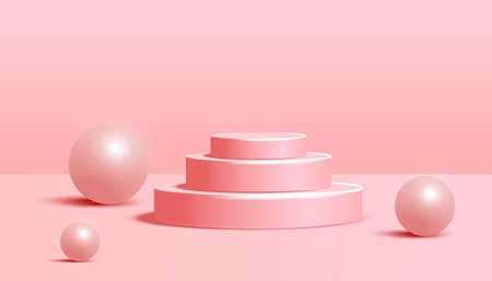 Cylinder podium with wave shape and volumetric bubble on pink background. Minimal scene with geometrical forms for product presentation. Vector illustration 向量圖像