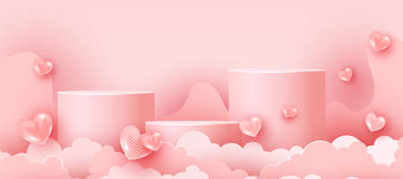 Abstract soft pink minimal scene with geometric forms for advertising brand products. Valentines Day greeting card with 3d realistic love shapes and paper cut clouds. Minimal scene. Horizontal minimal poster, flyer, greeting card, header for website