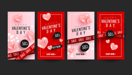 Happy Valentines day promo story banner collection set with 3d pink hearts on pink red background. Valentines day concept posters set. 版權商用圖片 - 161772836