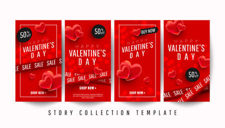 Happy Valentines day promo story banner collection set with 3d hearts on a red background. 版權商用圖片 - 161772837