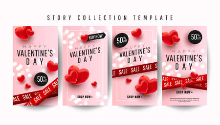 Happy valentines day story banner collection set with many sweet hearts on pink background. Promotion and shopping template 向量圖像