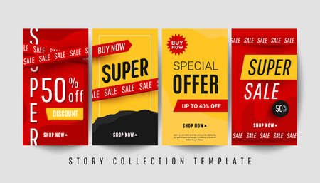 Editable vertical banner stories template with super discount text and sale decor elements on red and yellow background. 向量圖像