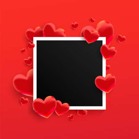 Empty black photo frame with many 3d sweet love hearts shape on red background. 向量圖像