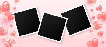 Empty black photo frames set with love air many sweet hearts shape on pink background. 向量圖像