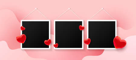 Black photo frames set with love air many red sweet hearts shape on a pink background. Vector illustration
