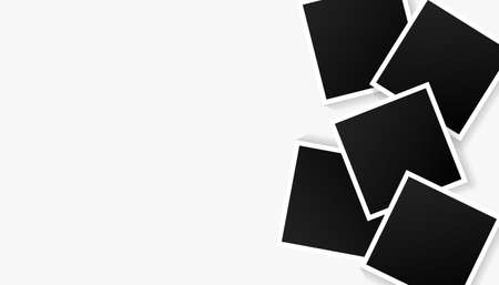 Set of empty black photo frames set on white background. Vector illustration for your photos or memories.