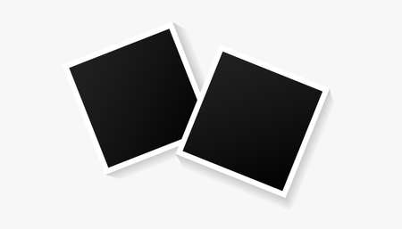 Two empty black photo frames set on white background. Vector illustration for your photos or memories. 向量圖像
