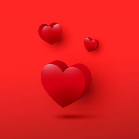 Beautiful 3d decorative valentines day hearts icon set on red background. Celebration card, vector illustration