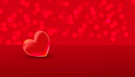 Valentines day red sweet heart and place for text on red background. Celebration card, vector illustration 向量圖像