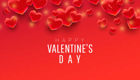 Happy valentines day sale background, poster, card, invitation with 3d hearts shape fly in the air and text on red background.