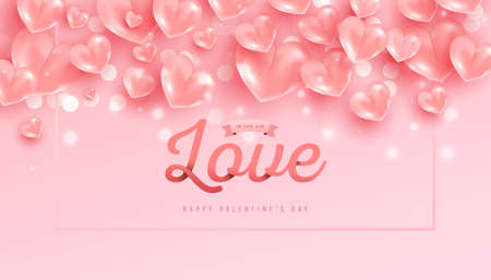 Valentines day background with 3d pink hearts shape fly in the air and love text on pink background.