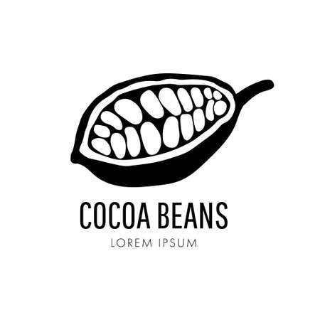 Cocoa pods and cocoa beans icon, chocolate basis isolated on a white background. 版權商用圖片 - 161772840