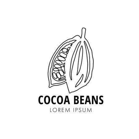 Halves of line ripe cocoa pod with beans on white background. 向量圖像
