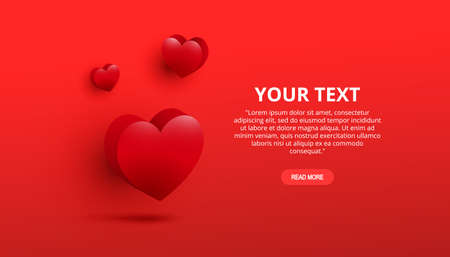 Valentines day red sweet hearts and place for text on a red background. Celebration card, vector illustration 向量圖像