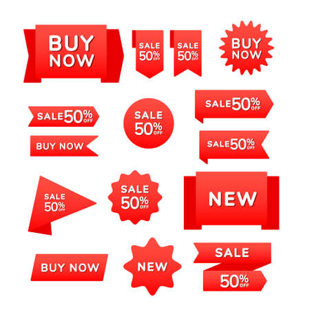 Set of red sale shopping ribbons, badges and banners with the inscription sale, buy now, new on a red background. Vector illustration. Design elements 向量圖像