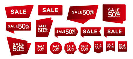 Sale badges and labels vector collection. Set of red banners, labels, tags, corners on a red background. Vector illustration