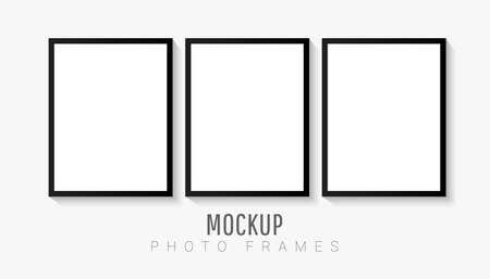 Empty white picture mockup template set with black frame isolated on white background. Vector illustration for your photos or memories. Wall art artwork. 向量圖像