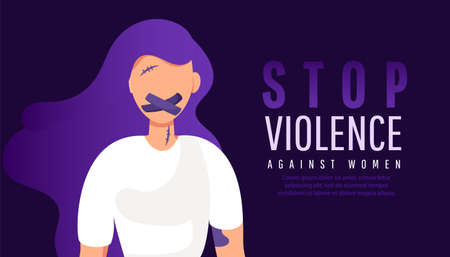 Sad lonely woman with mouth in adhesive tape restrained. Stop violence against women. 版權商用圖片 - 161772851