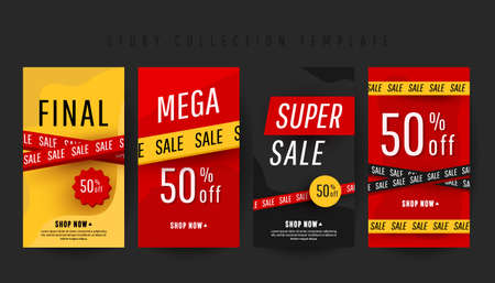 Editable vertical banner stories template with super discount text and sale decor elements on a red and yellow background.