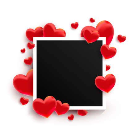 Empty black photo frame with many 3d red sweet love hearts shape on white background.