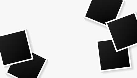 Set of empty picture black photo frame templates on white background for photos. Vector illustration for your photos or memories. 向量圖像