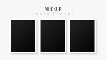 Empty white abstract creative minimal picture mockup template set with black frame isolated on white background. Vector illustration 版權商用圖片 - 161834044