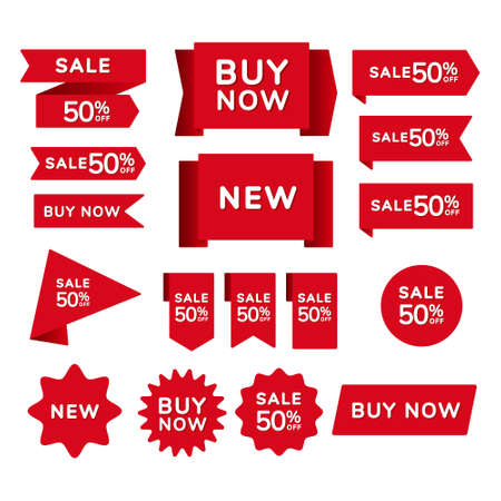 Set of red sale shopping ribbons, badges and banners with the inscription sale, buy now, new on a red background. Vector illustration 向量圖像