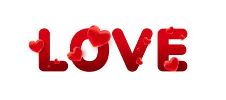 Love text with 3d red sweet heart shapes on a white background. Greeting card, banner 版權商用圖片 - 161834047