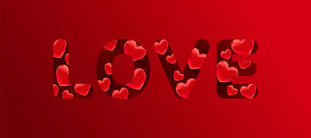 Love text with 3d red sweet heart shapes on red background. Minimal celebration card, vector illustration
