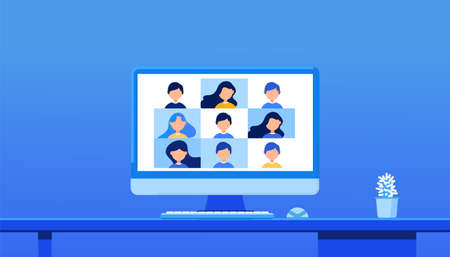 Virtual conference with employees. Online education and e-learning concept. Home quarantine distance learning. Remote work concept. Online meeting in video call. Web Video Conference. 向量圖像