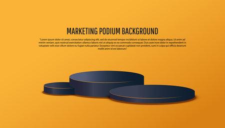 3d black platform studio minimal scene with render platform on yellow background. Podium show cosmetic product. 版權商用圖片 - 161834121