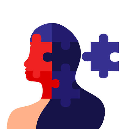 Mental health concept. Female silhouette with puzzle pieces isolated on a white background