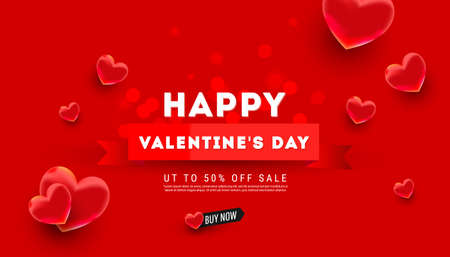 Valentines day sale background design with 3d air love balloons decor on red background with greeting text. Holiday banner, web poster, flyer, color brochure. Vector illustration