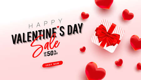 Happy Valentines Day greeting card with realistic surprise gift and 3d love decor on a pink pastel background. Vector illustration.