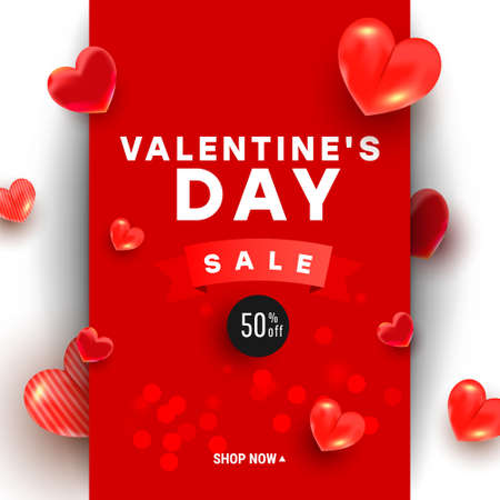 Valentines day sale background design with 3d air love shapes decor and ribbon on a red background with greeting text. Promotion and shopping template