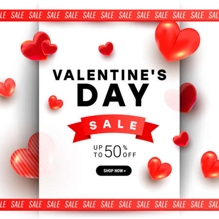Beautiful stylish Valentines day sale background design with 3d air love shapes decor and ribbon on a red background with greeting text. Promotion and shopping template 版權商用圖片 - 161834173