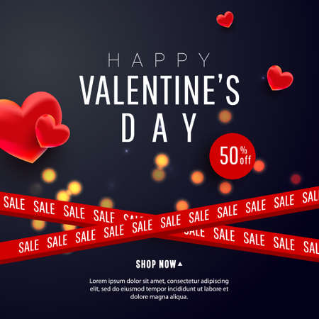 Beautiful stylish Valentines day sale background design with 3d air love shapes decor and ribbons on a dark background with greeting text.Flyers, invitation, poster, brochure, voucher discount.